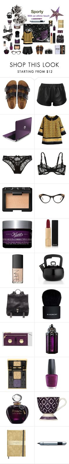"""""""Sporty and ethnic"""" by nathalie-puex ❤ liked on Polyvore featuring Birkenstock, Kelly Bergin, L'Agent By Agent Provocateur, Nikon, Christies, NARS Cosmetics, Miu Miu, Kiehl's, Chanel and Martha Stewart"""