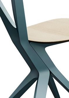Chair, steel, coated, blue