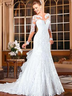 Vestido De Novia 2015 Sexy Long Sleeve Lace Wedding Dresses Sequin Ruffle Court Train Mermaid Bride Dresses Vestido De Casamento