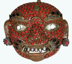 Antique Mask / Tibetan Mask /Wrathful Protector Nepal  - Collectible Pre-1940 Age Unknown 6.25 x 6 x 2.25 Inch Tibetan Sacred Relic to Benefit All Sentient Beings Native Old Tibet Mask / Protect Health & Wealth/ Turquoise/Red Coral/Volcanic Agate/Conch Display Buddhist Altar to Support Free Tibet & Nepal Dakini Blessed Reiki Tummo Infused by Reiki Master http://www.amazon.com/dp/B003AK2M3U/ref=cm_sw_r_pi_dp_G.udxb0PV9Z90