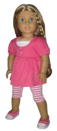 "Hot Pink Babydoll Top and Striped Leggings. Doll Clothes Fit 18"" American Girl Doll. by Silly Monkey. $15.99. High-quality fabrics and details. Fits - 18"" dolls such as American Girl doll and others. Brand - Silly Monkey Doll Clothes. Doll and shoes not included.. Includes - top and leggings. Doll and shoes not included.    Our precious knit babydoll top has a white layer-look insert. Tiny non-functional buttons add a dainty finish. The versatile pink and white striped leggings..."