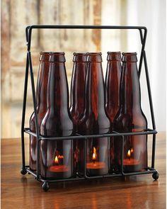Vintage Beer Bottle Candle Rack
