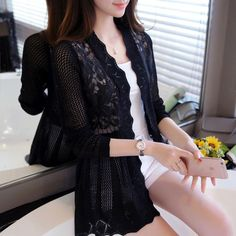2017 female spring and autumn lace cutout thin sweater cardigan cape outerwear medium-long