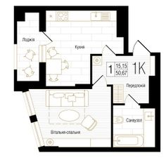 ЖК New York Concept House: планировка 1-комнатной квартиры 50.67 м2, тип 1К