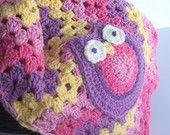 Owl Baby Blanket - Owl Granny Ripple Blanket - 31 x 31 Size - Purple Pink Yellow Crochet Chevron Blanket READY to SHIP Granny Square Afghan