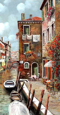 Venice Painting - Osteria Sul Canale by Guido Borelli Easy Landscape Paintings, Venice Painting, Painting Inspiration, Painting & Drawing, Folk Art, Watercolor Paintings, Art Drawings, Scenery, Art Gallery