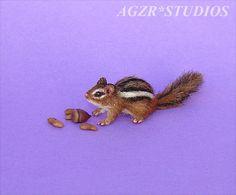 OOAK 1:12 Dollhouse Miniature Chipmunk Eastern Furred Animal Handmade Realistic