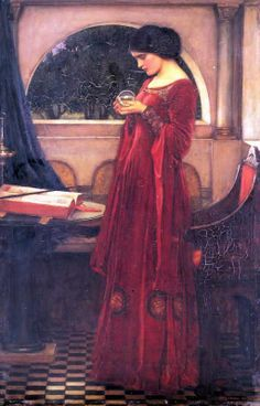 Jhon William Waterhouse ( 1849-1917 )イギリス ラファエル前派 Crystal Ball 1902 Exhibited Royal Academy 1902, no. 181. Location unknown