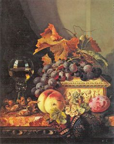 """Edward Ladell (1821-1886), """"Still life with grapes, whitecurrants, nuts, a plum, a peach, a cascet and a wine glass"""" 