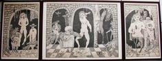 Antonio BONILLA : El tríptico de nuestra cotidianidad ; Junio y Julio 1983 ; tinta sobre papel ; tríptico abierto : 53cm x 140cm ; colección MDAA (adquirido en 2 partes : en Febrero y Mayo 1993 del artista)