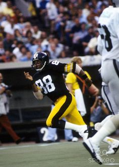 Pittsburgh Steelers receiver Lynn Swann (88) in action against the Oakland Raiders at Three Rivers Stadium.