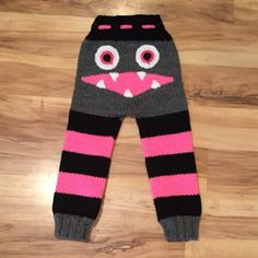 Completely Customizable Monster Pants - Available up to 5 years - Football & Sports Themed - Colors of your choice - Adjustable ties Baby Boy Knitting, Baby Knitting Patterns, Loom Knitting, Crochet Patterns, Crochet Baby Pants, Knit Or Crochet, Crochet Clothes, Baby Dungarees, Pullover