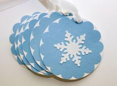 Set of 6 Blue and White Snowflake Tags, Winter Wedding, Handmade Gift Tags, Snowflake, Favor Tags, Holidays, Christmas, Winter Party. $3.00, via Etsy.