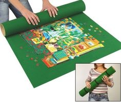 Jigsaw Roll Puzzle Storage Mat up to 2000 pieces - gift idea for will. get a yoga mat and a cardboard tube and some straps Puzzle Roll Up Mat, Puzzle Mat, Puzzle Storage, Home Crafts, Diy Crafts, Thinking Outside The Box, Tk Maxx, Kids Christmas, Christmas Gifts