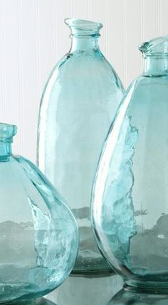 Pale and perfect aqua vases - tropical water colors...