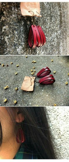 cuir - New Ideas Diy Leather Earrings, Diy Earrings, Leather Jewelry, Gold Earrings, Fabric Jewelry, Beaded Jewelry, Crea Cuir, Leather Scraps, Homemade Jewelry