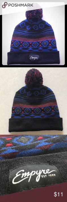 NWOT Empyre Unisex Blue, Black, and Red Pom Beanie This beanie is in awesome shape - I only wore it 2 times several years ago, so short of some very light dust that can be seen on the black areas of the beanie pattern, this baby is in new condition!   The indigo blue and bright red on this beanie really POP; pictures do not do it justice!   Material: 95% acrylic, 5% spandex (full disclosure: I did remove the tag from the inside of the beanie for comfort!)  I am completely open to reasonable…