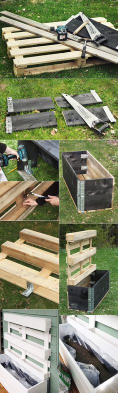 Make a vertical planter in a palette: tutorials and inspiring ideas for indoor and outdoor photos Vertical Pallet Garden, Vertical Planter, Garden Pallet, Diy Jardim, Potager Palettes, Palette Garden, Palette Planter, Pallet Painting, Wooden Pallets