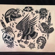 Ideas Tattoo Bird Old School Eagles Tatto Old, Kritzelei Tattoo, Old Tattoos, Black Tattoos, Sleeve Tattoos, Tattoo Bird, Traditional Tattoo Old School, Traditional Tattoo Design, Traditional Ink