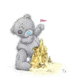 tatty teddy bear sand