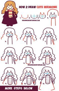 How to Draw Cute Hermione from Harry Potter (Chibi / Kawaii) Easy Steps Drawing . How to Draw Cute Hermione from Harry Potter (Chibi / Kawaii) Easy Steps Drawing Tutorial – Harry Potter Hermione, Harry Potter Diy, Hermione Granger, Ron Weasley, Harry Potter Journal, How To Draw Steps, Learn To Draw, How To Draw Cute, Doodle Drawings