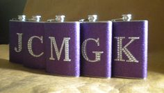 Bridesmaids Gift Flasks Set of 5 ANY Color by kryan2designs