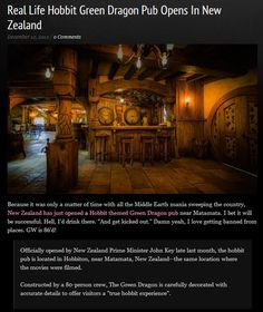 The Green Dragon pub, in New Zealand. Accurately depicting a pub in The Shire from LoTR!!