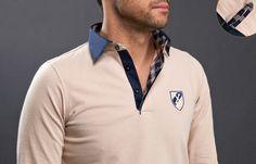 #Beige #Polo #Shirt Shield Checkered Lining  $86.90 #frenchflair #mensfashion