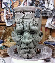 #TBT to a FrankenJug from 2014. Stoneware WIP with hardware. Inspired by my good friend @getclaybydan. Another piece that I never finished. ------------------------------- #ceramics #pottery #stoneware #clay #ceramic #art #monster #undead #thewalkingdead #zombie #zombies #zombiemug #scary #creepy #nightmare #skulltattoo #skull #halloween #haunted #horror #horrorlover #horrorfan #coffee #coffeebreak #coffeeaddict #coffeelover #coffeemug #mug #frankenstein