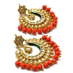 Kundan Jewellery Latest Designs & Trends for Asian Women Coral Earrings, Coral Jewelry, India Jewelry, Jewelry Art, Wedding Jewelry, Beaded Jewelry, Jewelry Design, Hyderabadi Jewelry, Jewelry Trends 2018