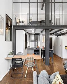 Industrial Loft Apartment via planete-deco - Architecture and Home Decor - Bedroom - Bathroom - Kitchen And Living Room Interior Design Decorating Ideas - Loft Interior Design, Loft Design, House Design, Apartment Interior, Home Interior, Interior Architecture, Interior Ideas, Interior Inspiration, Studio Apartment