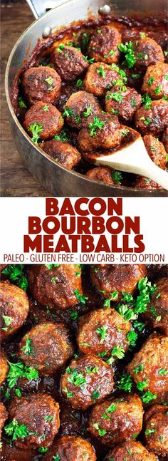 Perfect as a game day appetizer or for dinner! These bacon bourbon meatballs are easy to make and full of flavor. They are paleo gluten free dairy free low carb and can be made keto! Perfect as a game da Dairy Free Appetizers, Game Day Appetizers, Appetizer Recipes, Recipes Dinner, Gluten Free Party Food, Healthy Appetizers, Paleo Recipes, Real Food Recipes, Cooking Recipes
