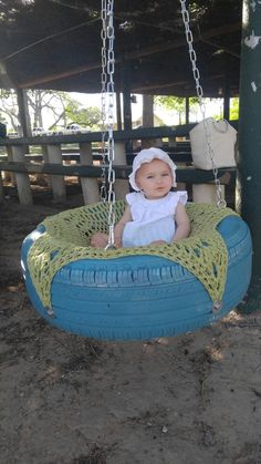 Crochet tire swing for babies and toddlers!