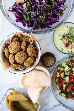 Homemade Green Falafel Balls + Israeli and Cabbage Salad — Gather a Table Israeli Food, Israeli Recipes, Israeli Salad, Jerusalem, Kosher Recipes, Cooking Recipes, Falafel Place, Vegetable Recipes, Vegetarian Recipes