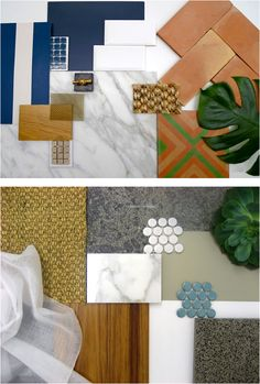 Interior Design Moodboards - Like the Top & Bottom approach in one picture.  by Arent & Pyke Moodboards