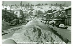 Susanville Ca. 1958  a bit earlier but I remember the huge piles of snow in the middle of main street all the way through! Our car would be covered in our driveway and we would have to wait  for some of the snow to melt to drive it! :)