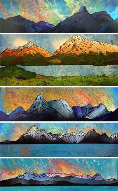 Andy Peutherer - Try Handmade Watercolor Landscape Paintings, Watercolour, Gcse Art, Natural History, Scotland, Scenery, Artsy, Quilts, Drawings