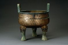 """A bronze ritual vessel """"He"""" (water or wine container), Qin dynasty."""