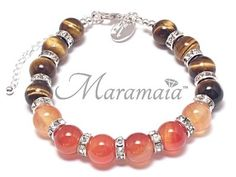 Fire Element Tigereye and Carnelian Sterling Silver Bracelet for * Grounding * Protection * Courage * Happiness * Emotional Warmth.