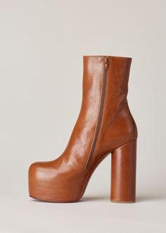 Vetements Platform Ankle Boot (Cognac)