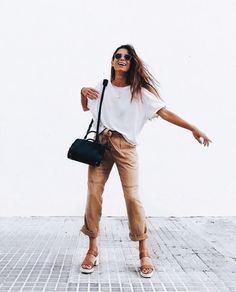 Khaki pants, white tee, flats Street style, street fashion, best street style, OOTD, OOTD Inspo, street style stalking, outfit ideas, what to wear now, Fashion Bloggers, Style, Seasonal Style, Outfit Inspiration, Trends, Looks, Outfits.
