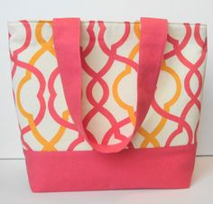Summer Orange Trellis and Coral Tote by WrapItUpByG on Etsy, $29.00