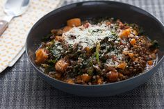 Braised Beluga Lentils  with Kale & Rosemary. Visit http://www.blueapron.com/ to receive the ingredients.