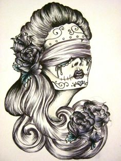 Blindfolds and Roses by HanBamBam sugar skull flowers lady woman blind long hair Tattoo Flash Art ~A.R.