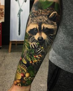 Image result for photorealism raccoon tattoo