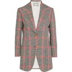 Gucci Appliquéd checked wool-blend tweed blazer ($2,915) ❤ liked on Polyvore featuring outerwear, jackets, blazers, gucci blazer, checkered jacket, lapel jacket, vintage jackets and party jackets