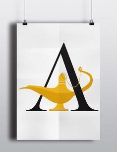 Posteres tipograficos que parecem ter saido de contos de fadas. #Type #Aladdin