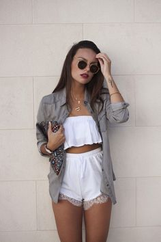 white cropped tee, white high waist shorts, khaki jacket, minimalist gold jewelry