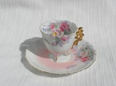 Floral Cup Saucer Tokiro Japan Pink Roses by AngiezillasBoutique