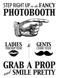 Wedding Photo Booth Sign - Vintage hand, moustache and lips! www.facebook.com/MrAndMrsPartyBooth